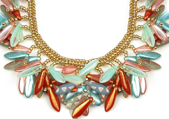 Collar of Glass and Light - Orange and Teal - Close-up